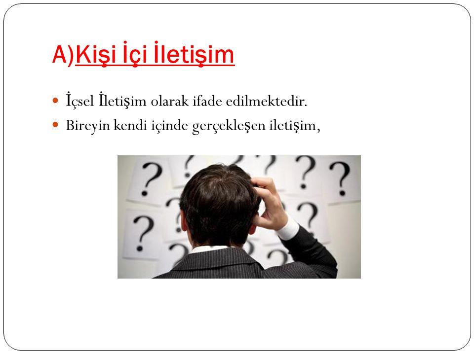 A)Kişi İçi İletişim İ çsel İ leti ş im olarak ifade edilmektedir.