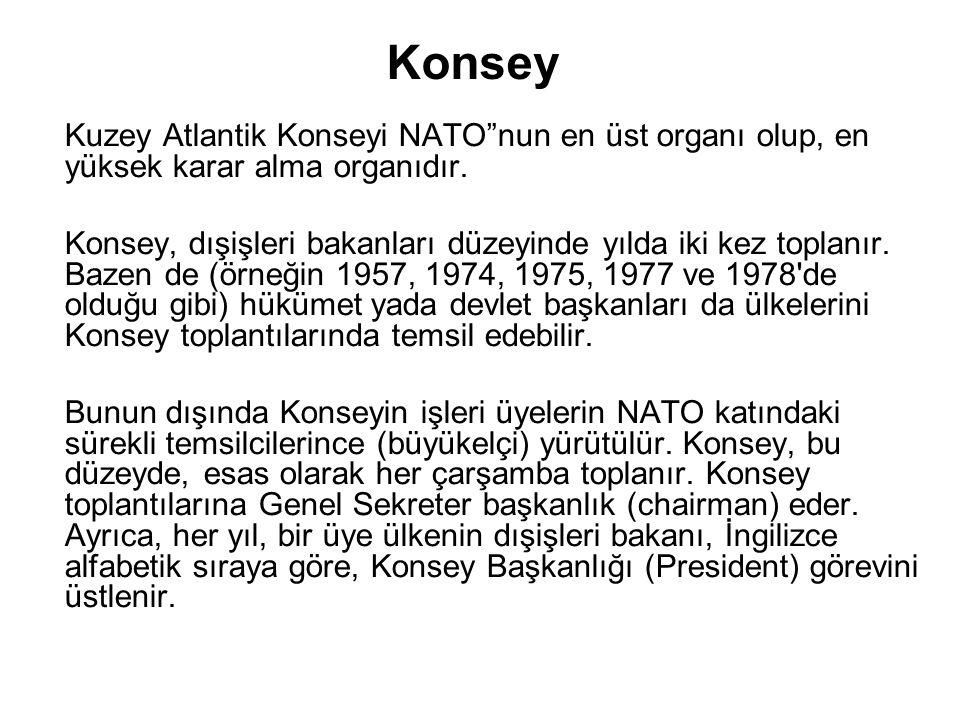 """Konsey Kuzey Atlantik Konseyi NATO""""nun en üst organı olup, en yüksek karar alma organıdır. Konsey, dışişleri bakanları düzeyinde yılda iki kez toplanı"""
