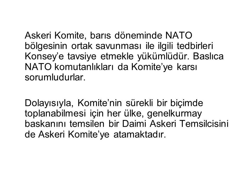 Askeri Komite, barıs döneminde NATO bölgesinin ortak savunması ile ilgili tedbirleri Konsey'e tavsiye etmekle yükümlüdür. Baslıca NATO komutanlıkları