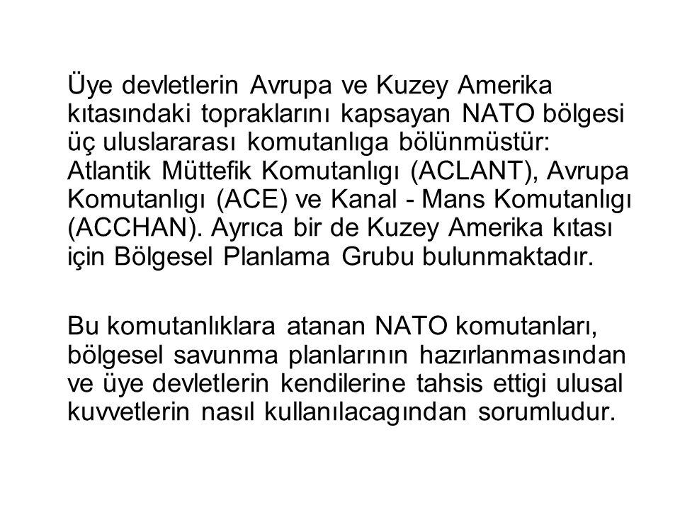 Üye devletlerin Avrupa ve Kuzey Amerika kıtasındaki topraklarını kapsayan NATO bölgesi üç uluslararası komutanlıga bölünmüstür: Atlantik Müttefik Komu