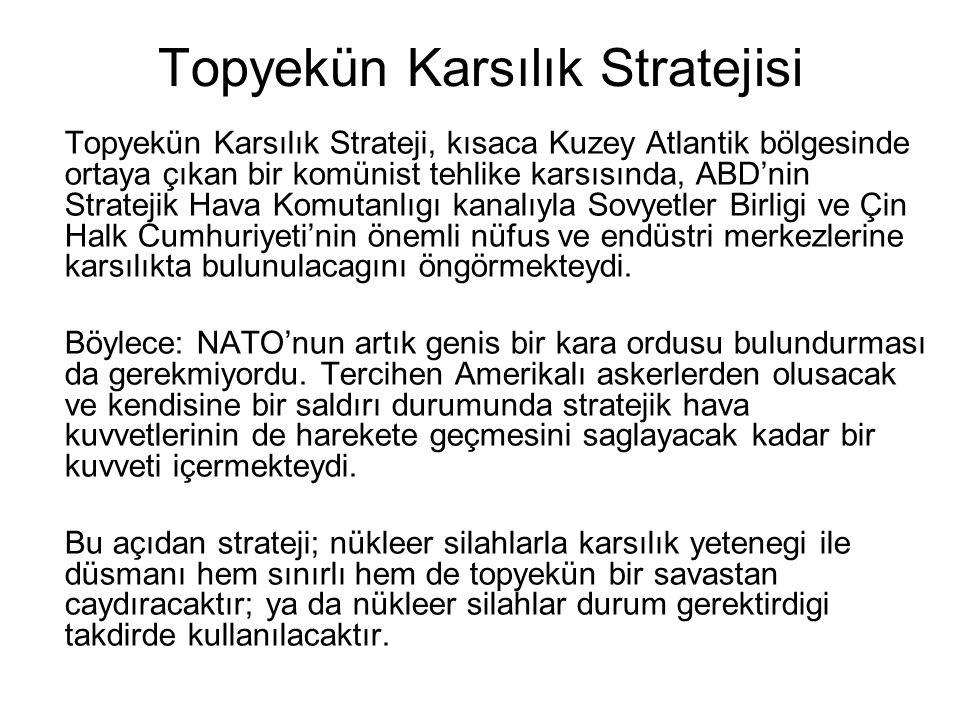 Topyekün Karsılık Stratejisi Topyekün Karsılık Strateji, kısaca Kuzey Atlantik bölgesinde ortaya çıkan bir komünist tehlike karsısında, ABD'nin Strate