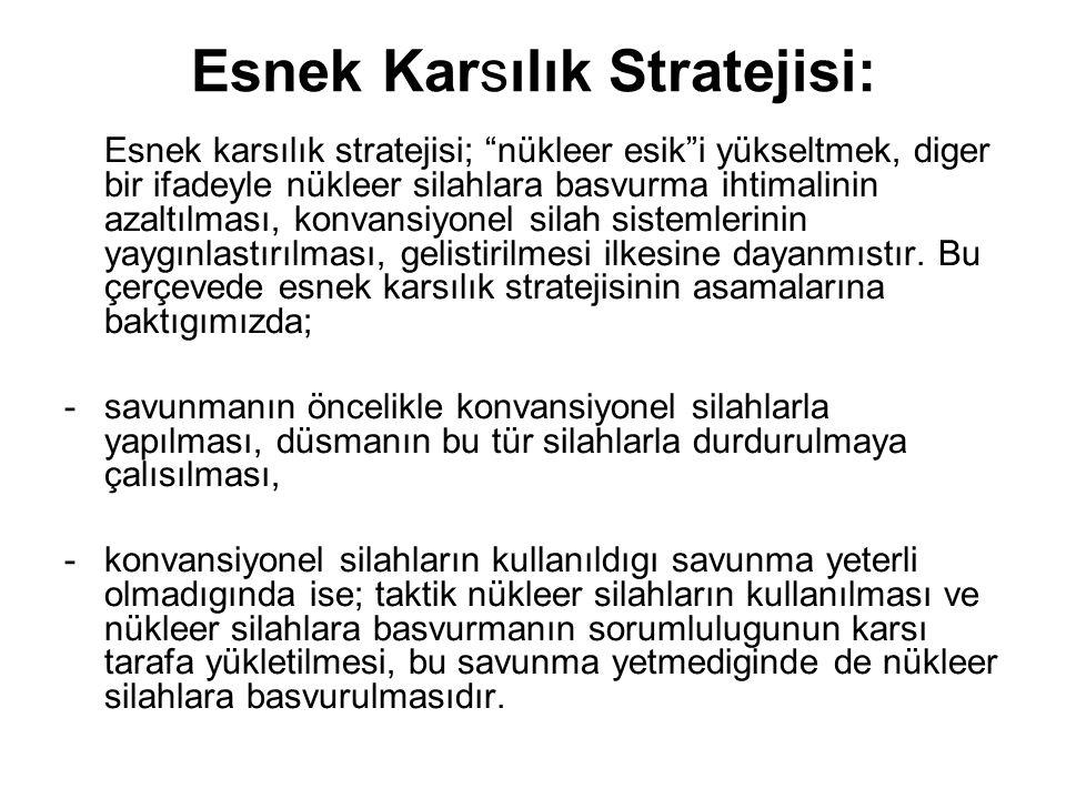 """Esnek Karsılık Stratejisi: Esnek karsılık stratejisi; """"nükleer esik""""i yükseltmek, diger bir ifadeyle nükleer silahlara basvurma ihtimalinin azaltılmas"""