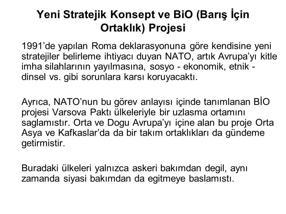 Yeni Stratejik Konsept ve BiO (Barış İçin Ortaklık) Projesi 1991'de yapılan Roma deklarasyonuna göre kendisine yeni stratejiler belirleme ihtiyacı duy