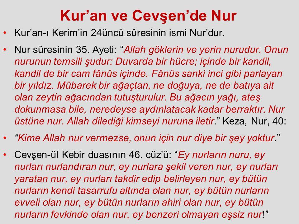 """Kur'an ve Cevşen'de Nur Kur'an-ı Kerim'in 24üncü sûresinin ismi Nur'dur. Nur sûresinin 35. Ayeti: """"Allah göklerin ve yerin nurudur. Onun nurunun temsi"""