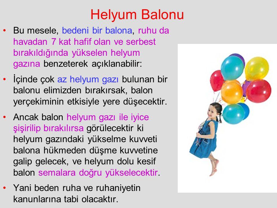 Helyum Balonu Bu mesele, bedeni bir balona, ruhu da havadan 7 kat hafif olan ve serbest bırakıldığında yükselen helyum gazına benzeterek açıklanabilir