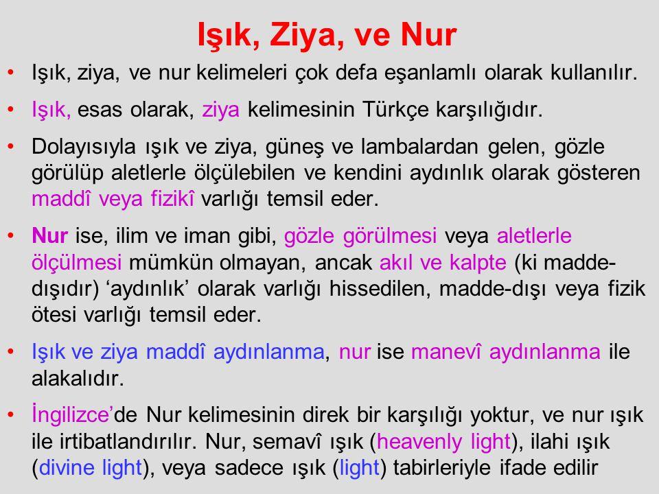 Işık, Ziya, ve Nur Işık, ziya, ve nur kelimeleri çok defa eşanlamlı olarak kullanılır. Işık, esas olarak, ziya kelimesinin Türkçe karşılığıdır. Dolayı