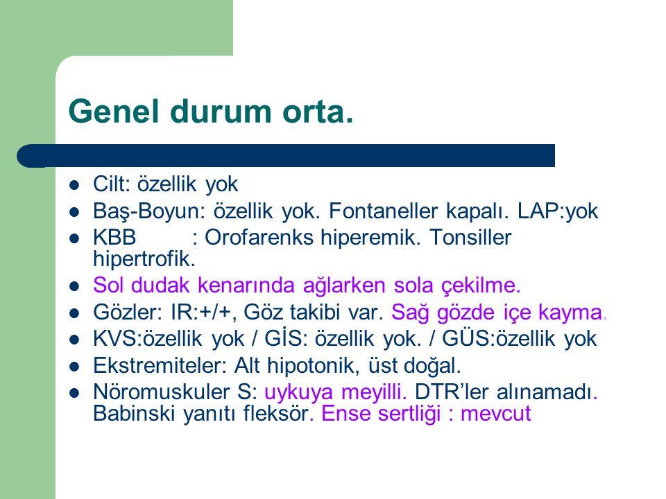 KBB Konsultasyonu: Ö.M.de İntranasal meningosel. Bilateral timpanik zarlar doğal.
