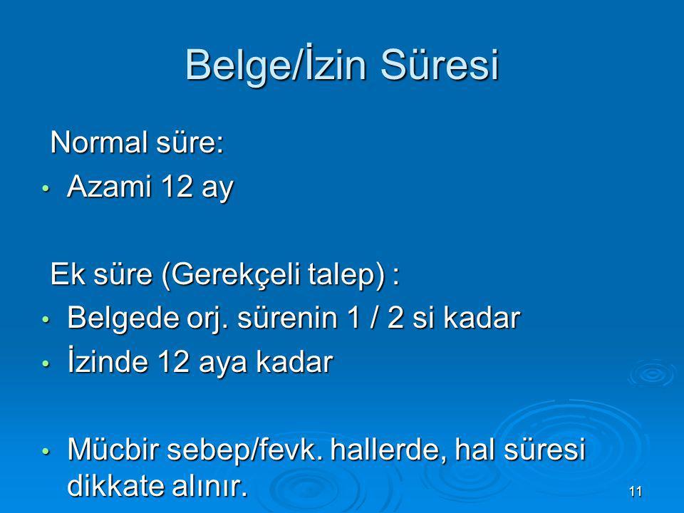 11 Belge/İzin Süresi Normal süre: Normal süre: Azami 12 ay Azami 12 ay Ek süre (Gerekçeli talep) : Ek süre (Gerekçeli talep) : Belgede orj. sürenin 1