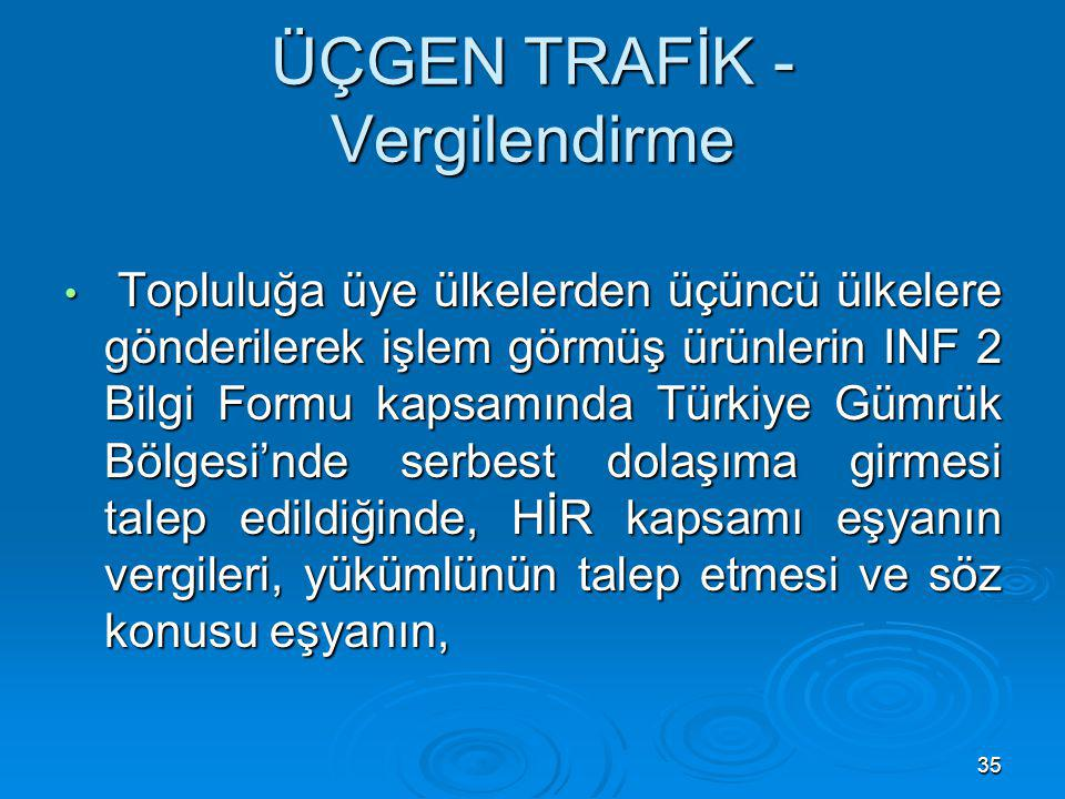 35 ÜÇGEN TRAFİK - Vergilendirme Topluluğa üye ülkelerden üçüncü ülkelere gönderilerek işlem görmüş ürünlerin INF 2 Bilgi Formu kapsamında Türkiye Gümr