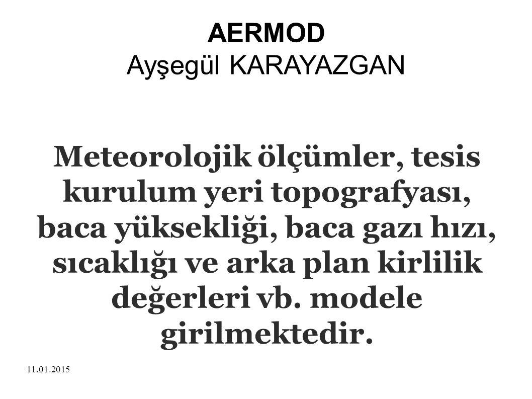 11.01.2015 AERMOD Ayşegül KARAYAZGAN Meteorolojik ölçümler, tesis kurulum yeri topografyası, baca yüksekliği, baca gazı hızı, sıcaklığı ve arka plan k