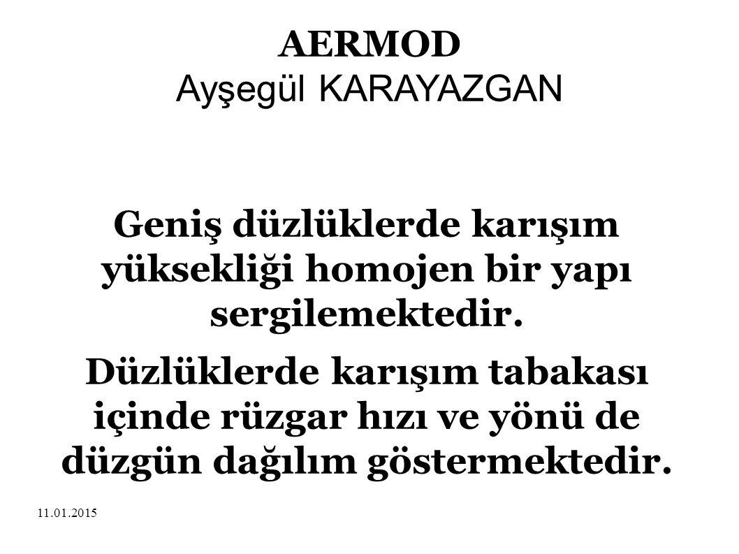 11.01.2015 AERMOD Ayşegül KARAYAZGAN Geniş düzlüklerde karışım yüksekliği homojen bir yapı sergilemektedir. Düzlüklerde karışım tabakası içinde rüzgar
