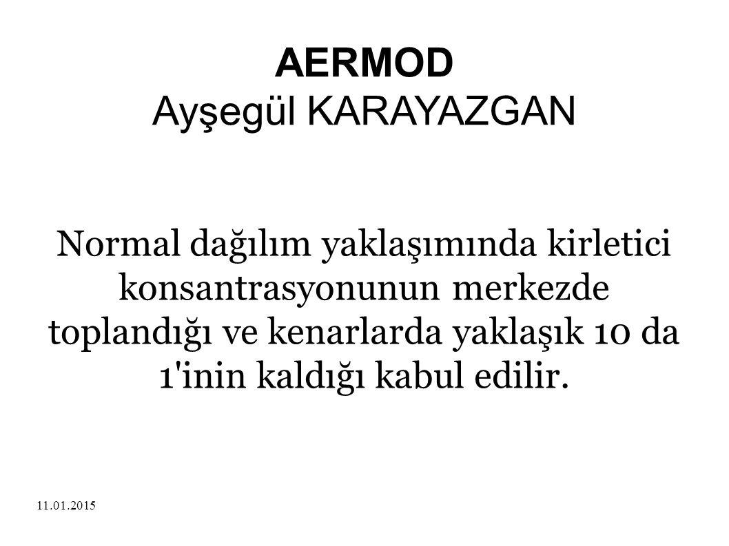 11.01.2015 AERMOD Ayşegül KARAYAZGAN Normal dağılım yaklaşımında kirletici konsantrasyonunun merkezde toplandığı ve kenarlarda yaklaşık 10 da 1'inin k