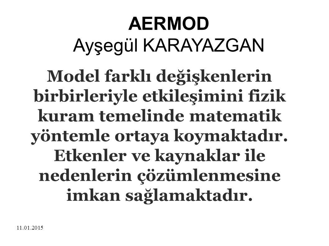 11.01.2015 AERMOD Ayşegül KARAYAZGAN Model farklı değişkenlerin birbirleriyle etkileşimini fizik kuram temelinde matematik yöntemle ortaya koymaktadır