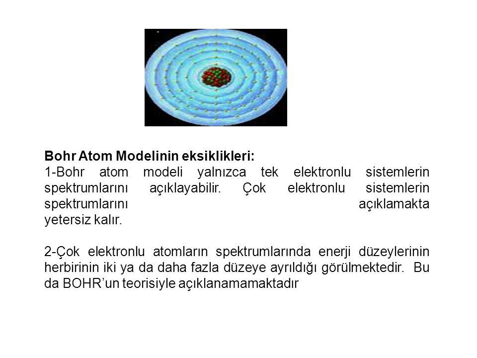 Bohr'a göre: 1-Elektronlar çekirdek çevresinde yarıçapı belli dairesel yörüngelerde bulunabilir.