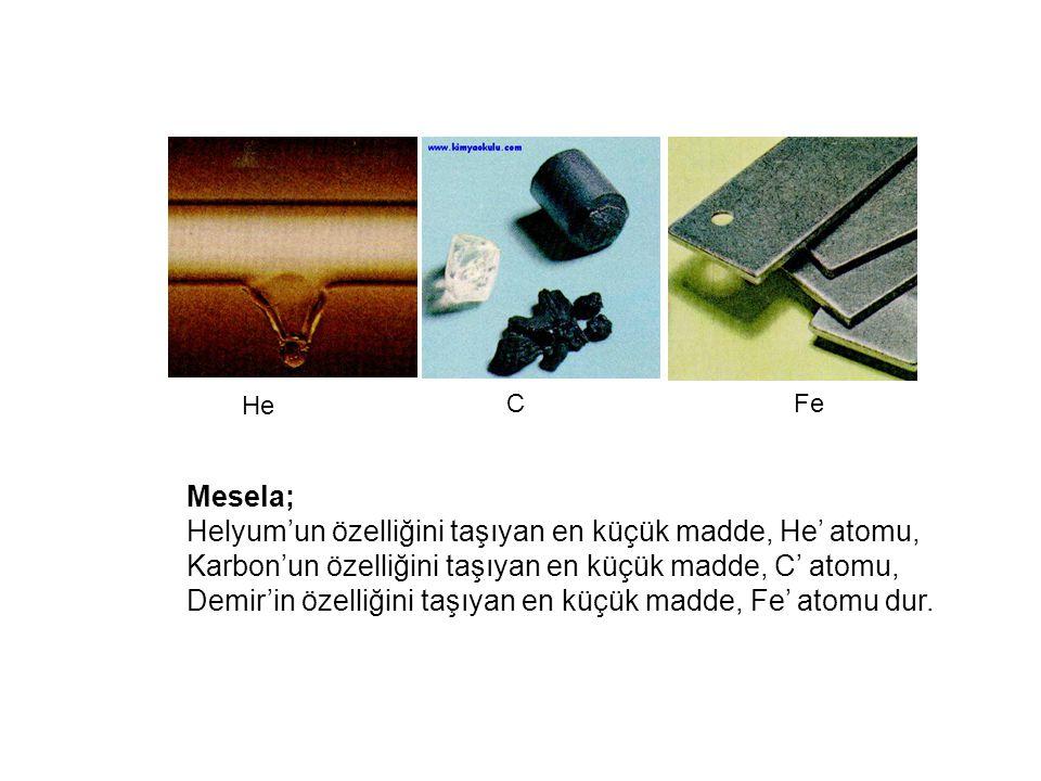 Mesela; Helyum'un özelliğini taşıyan en küçük madde, He' atomu, Karbon'un özelliğini taşıyan en küçük madde, C' atomu, Demir'in özelliğini taşıyan en küçük madde, Fe' atomu dur.