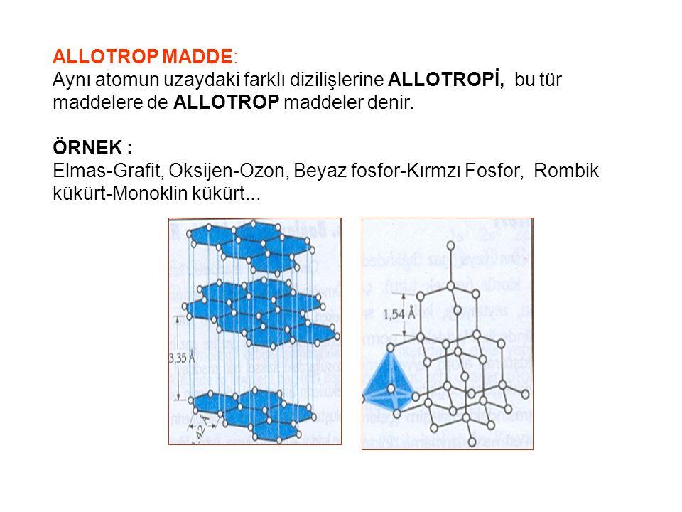 İZOELEKTRONİK MADDE : Elektron sayıları ve dizilişleri aynı olan farklı atom ya da iyonlar.