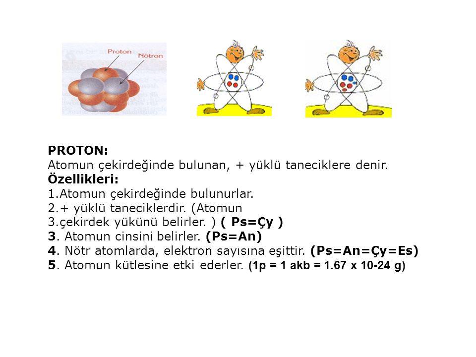 PROTON: Atomun çekirdeğinde bulunan, + yüklü taneciklere denir.