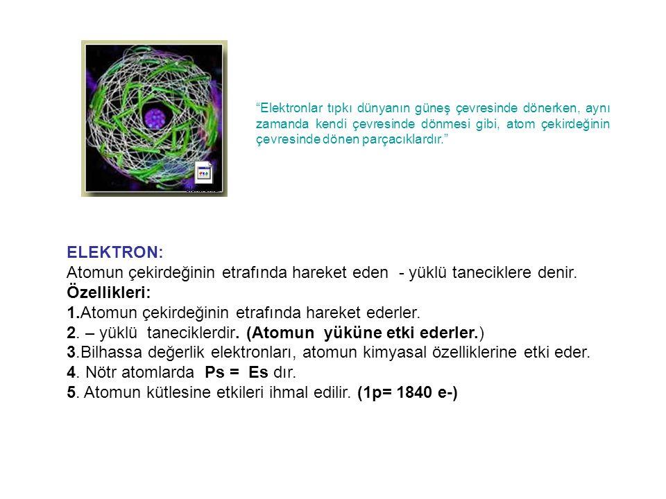 ELEKTRON: Atomun çekirdeğinin etrafında hareket eden - yüklü taneciklere denir.