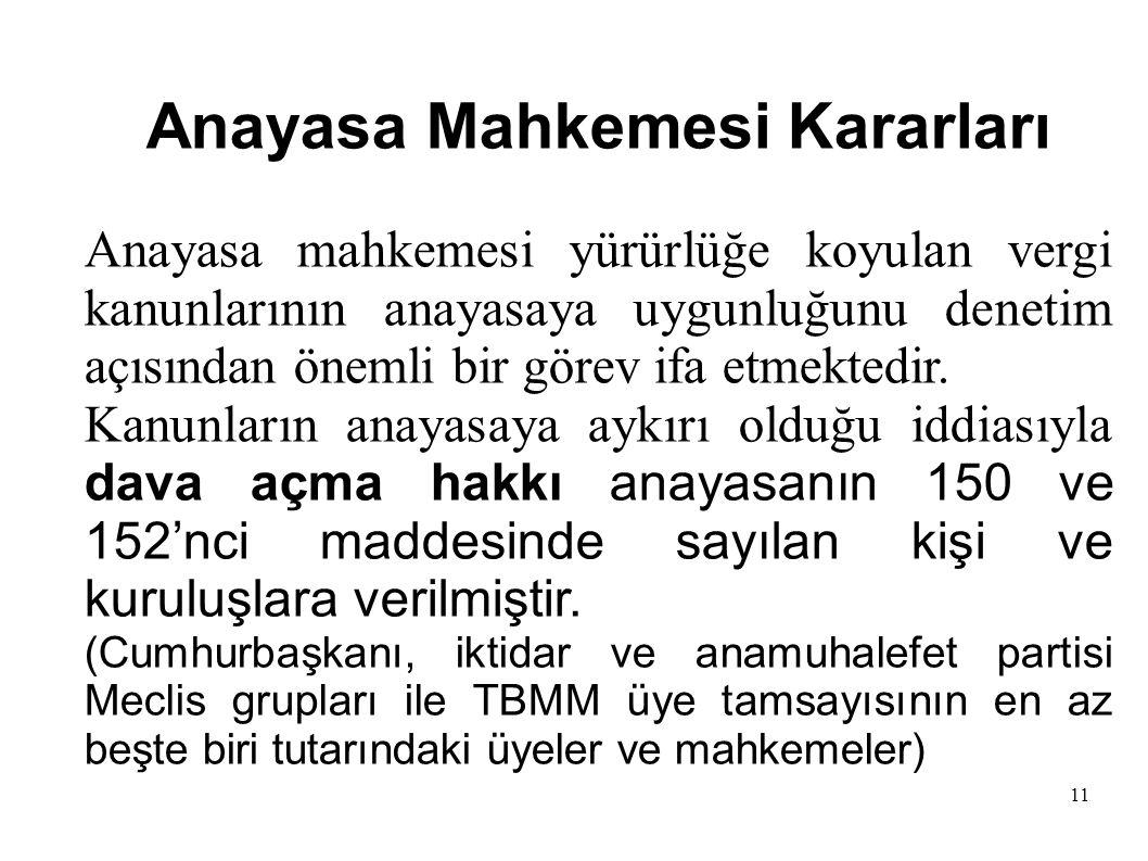 11 Anayasa Mahkemesi Kararları Anayasa mahkemesi yürürlüğe koyulan vergi kanunlarının anayasaya uygunluğunu denetim açısından önemli bir görev ifa etmektedir.