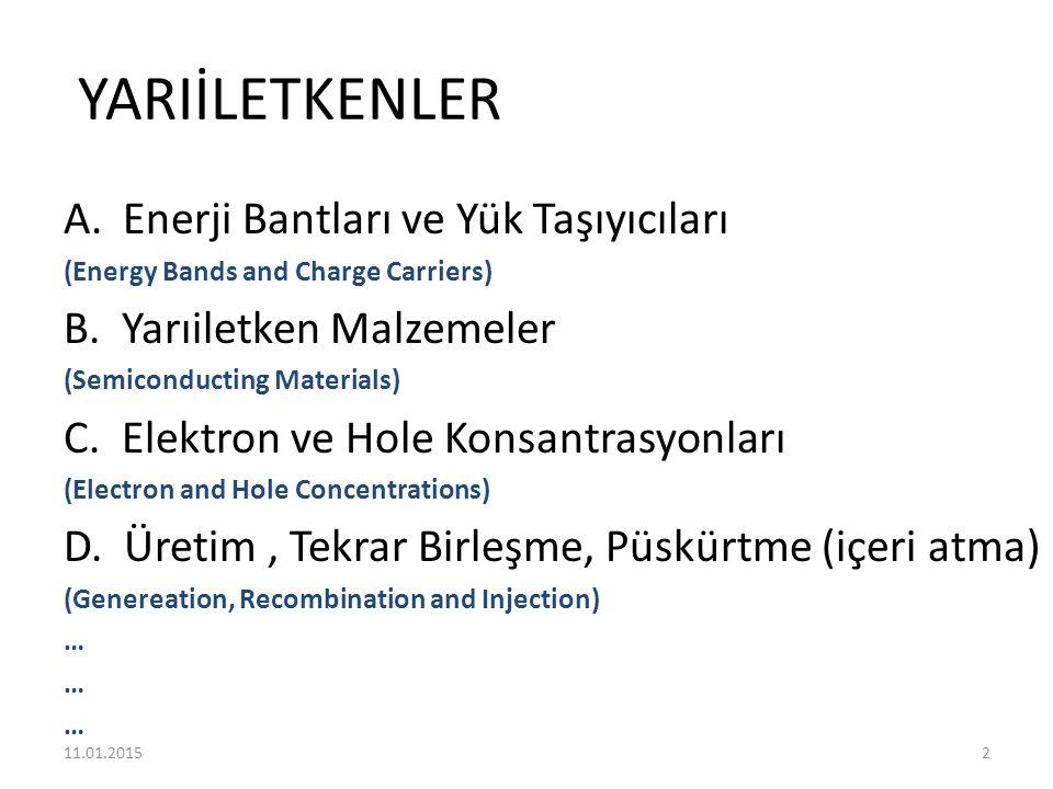 YARIİLETKENLER A.Enerji Bantları ve Yük Taşıyıcıları (Energy Bands and Charge Carriers) B. Yarıiletken Malzemeler (Semiconducting Materials) C. Elektr