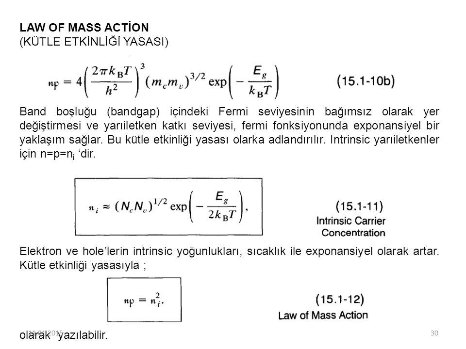 LAW OF MASS ACTİON (KÜTLE ETKİNLİĞİ YASASI) Band boşluğu (bandgap) içindeki Fermi seviyesinin bağımsız olarak yer değiştirmesi ve yarıiletken katkı se