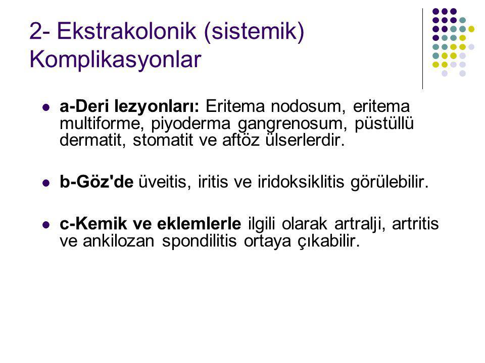 2- Ekstrakolonik (sistemik) Komplikasyonlar a-Deri lezyonları: Eritema nodosum, eritema multiforme, piyoderma gangrenosum, püstüllü dermatit, stomatit