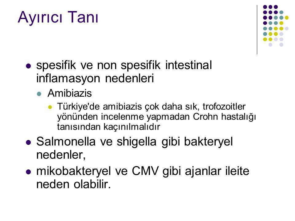 Ayırıcı Tanı spesifik ve non spesifik intestinal inflamasyon nedenleri Amibiazis Türkiye'de amibiazis çok daha sık, trofozoitler yönünden incelenme ya