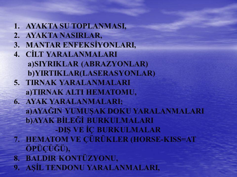 1.AYAKTA SU TOPLANMASI, 2.AYAKTA NASIRLAR, 3.MANTAR ENFEKSİYONLARI, 4.CİLT YARALANMALARI a)SIYRIKLAR (ABRAZYONLAR) b)YIRTIKLAR(LASERASYONLAR) 5.TIRNAK