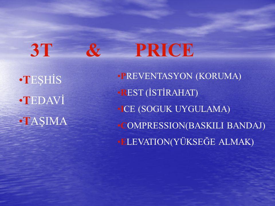 3T & PRICE TEŞHİS TEDAVİ TAŞIMA PREVENTASYON (KORUMA) REST (İSTİRAHAT) ICE (SOGUK UYGULAMA) COMPRESSION(BASKILI BANDAJ) ELEVATION(YÜKSEĞE ALMAK)