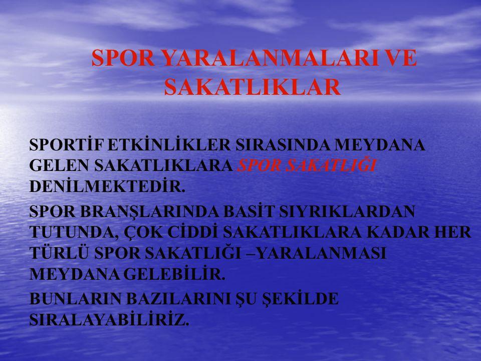 1.AYAKTA SU TOPLANMASI, 2.AYAKTA NASIRLAR, 3.MANTAR ENFEKSİYONLARI, 4.CİLT YARALANMALARI a)SIYRIKLAR (ABRAZYONLAR) b)YIRTIKLAR(LASERASYONLAR) 5.TIRNAK YARALANMALARI a)TIRNAK ALTI HEMATOMU, 6.AYAK YARALANMALARI; a)AYAĞIN YUMUŞAK DOKU YARALANMALARI b)AYAK BİLEĞİ BURKULMALARI -DIŞ VE İÇ BURKULMALAR 7.HEMATOM VE ÇÜRÜKLER (HORSE-KISS=AT ÖPÜÇÜĞÜ), 8.BALDIR KONTÜZYONU, 9.AŞİL TENDONU YARALANMALARI,