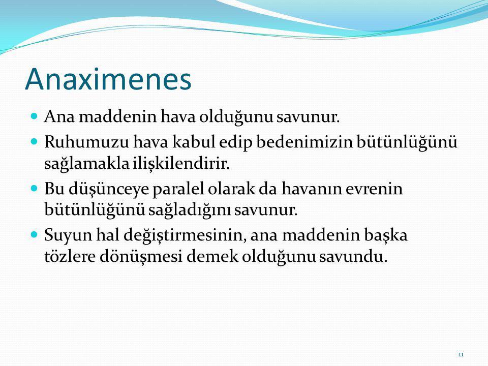 11 Anaximenes Ana maddenin hava olduğunu savunur.