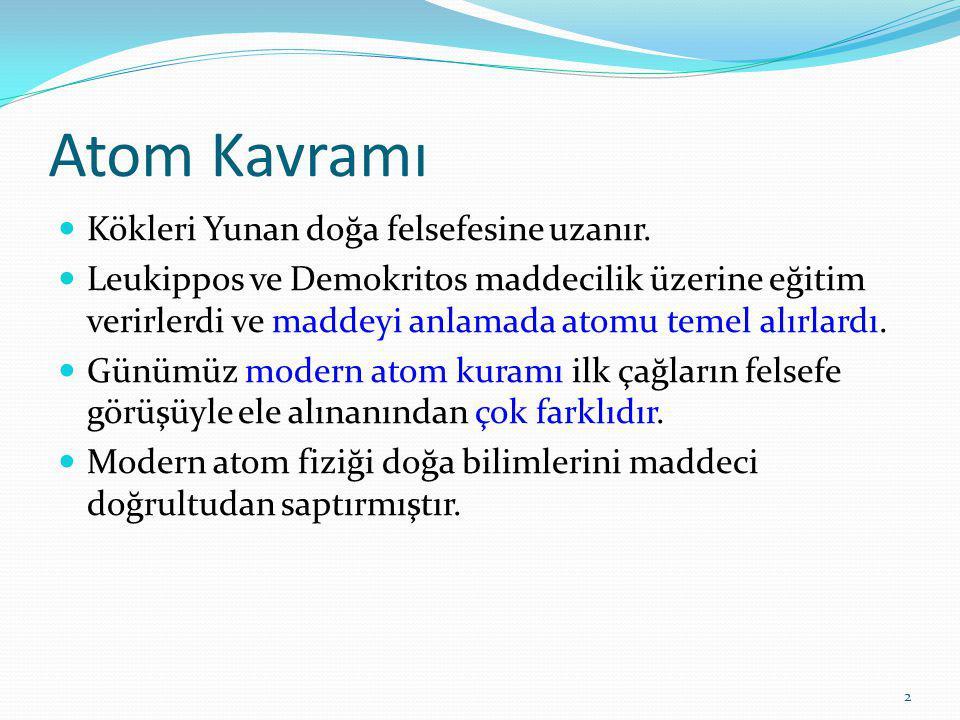 2 Atom Kavramı Kökleri Yunan doğa felsefesine uzanır.
