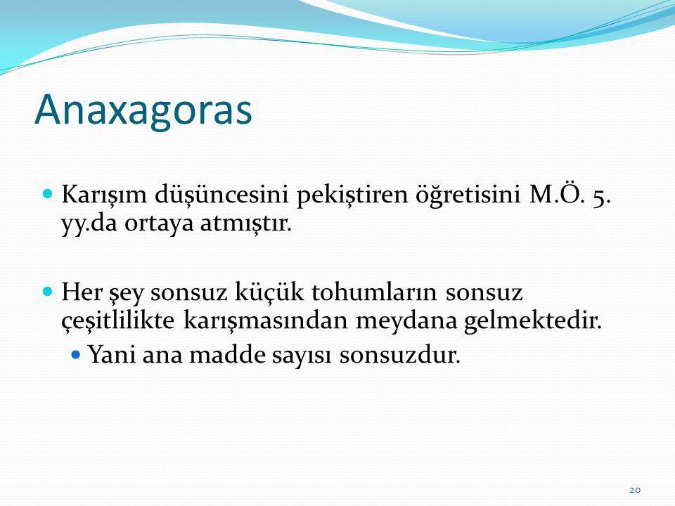 20 Anaxagoras Karışım düşüncesini pekiştiren öğretisini M.Ö.