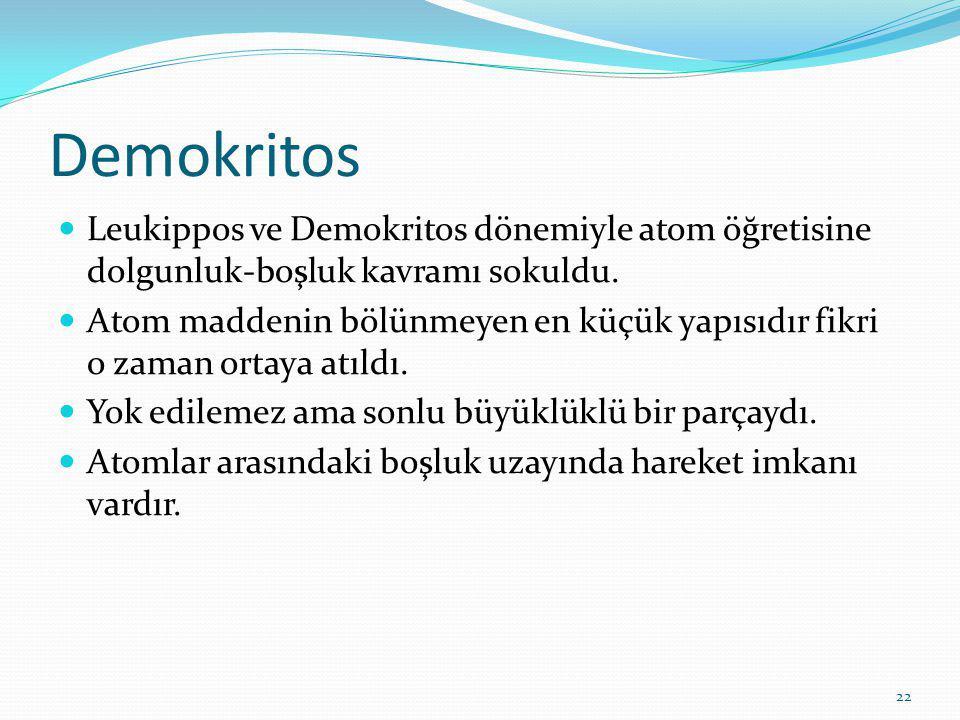 22 Demokritos Leukippos ve Demokritos dönemiyle atom öğretisine dolgunluk-boşluk kavramı sokuldu.