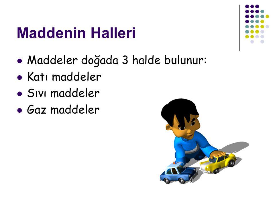 Maddenin Halleri Maddeler doğada 3 halde bulunur: Katı maddeler Sıvı maddeler Gaz maddeler
