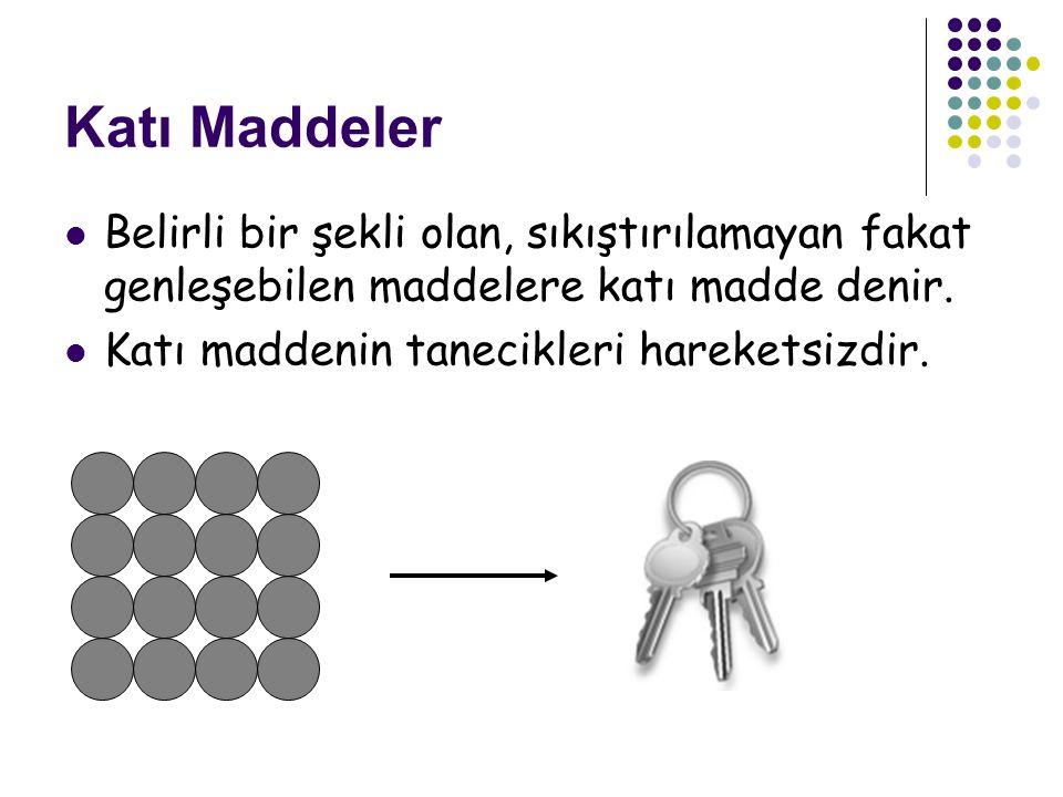 Sıvı Maddeler Belirli bir şekli olmayan fakat bulunduğu kabın şeklini alan sıkıştırılamayan ama genleşebilen akışkan maddelere sıvı maddeler denir.