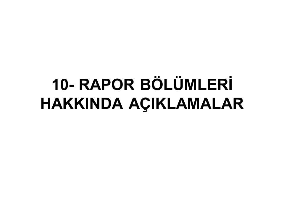 10- RAPOR BÖLÜMLERİ HAKKINDA AÇIKLAMALAR