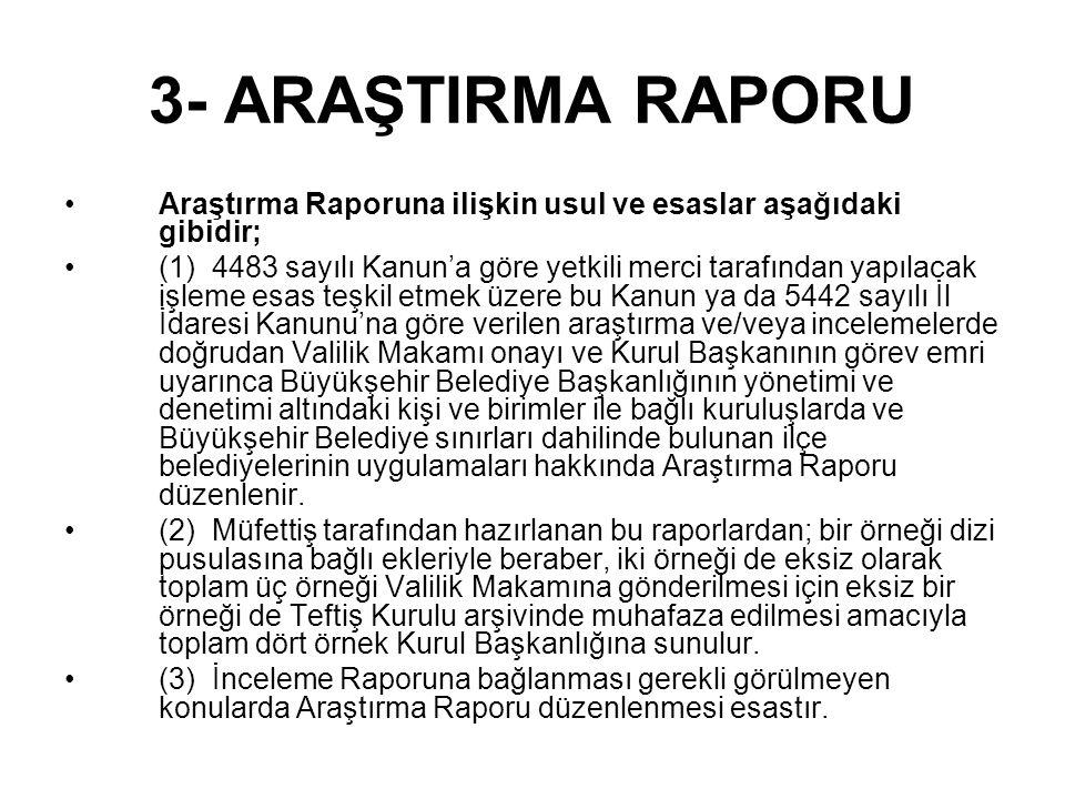 BAŞLANGIÇ : İstanbul Valiliği'nin...tarihli,.... sayılı onayı ve Teftiş Kurulu Başkanlığı'nın...