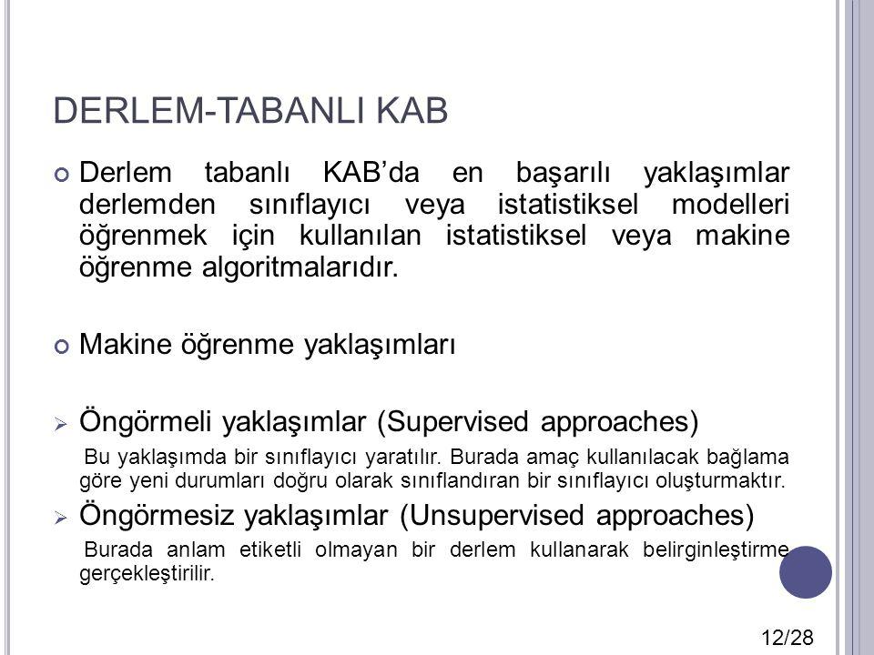 DERLEM-TABANLI KAB Derlem tabanlı KAB'da en başarılı yaklaşımlar derlemden sınıflayıcı veya istatistiksel modelleri öğrenmek için kullanılan istatisti