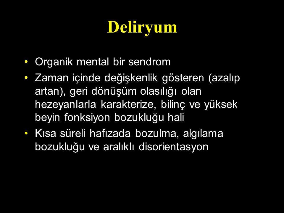 Deliryum Organik mental bir sendrom Zaman içinde değişkenlik gösteren (azalıp artan), geri dönüşüm olasılığı olan hezeyanlarla karakterize, bilinç ve