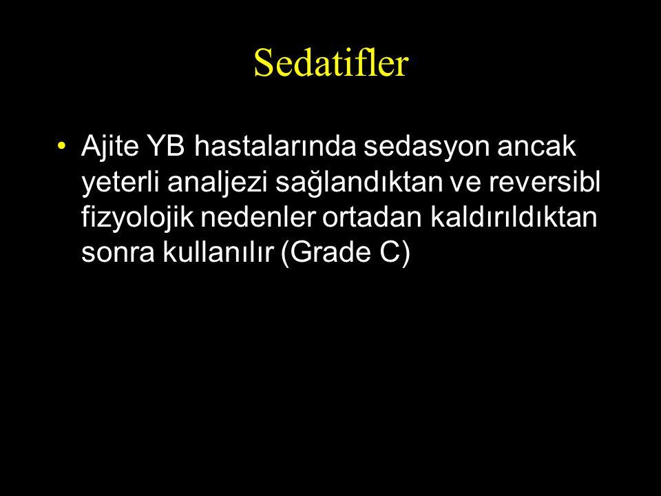 Sedatifler Ajite YB hastalarında sedasyon ancak yeterli analjezi sağlandıktan ve reversibl fizyolojik nedenler ortadan kaldırıldıktan sonra kullanılır