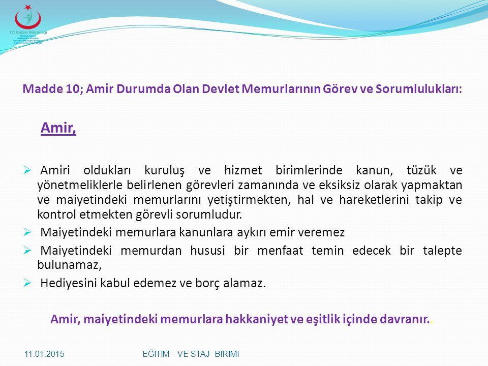 Madde 10; Amir Durumda Olan Devlet Memurlarının Görev ve Sorumlulukları: Amir,  Amiri oldukları kuruluş ve hizmet birimlerinde kanun, tüzük ve yönetm