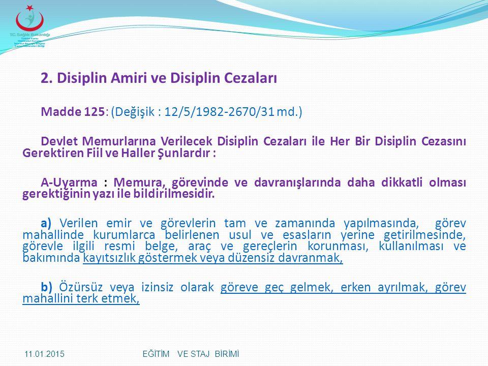 2. Disiplin Amiri ve Disiplin Cezaları Madde 125: (Değişik : 12/5/1982-2670/31 md.) Devlet Memurlarına Verilecek Disiplin Cezaları ile Her Bir Disipli