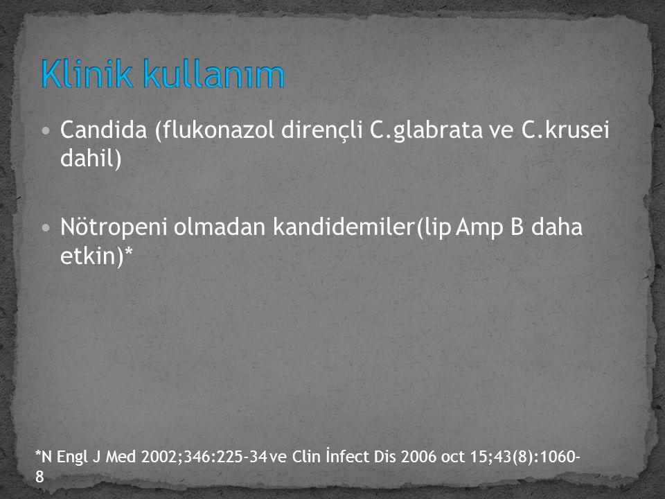 Candida (flukonazol dirençli C.glabrata ve C.krusei dahil) Nötropeni olmadan kandidemiler(lip Amp B daha etkin)* *N Engl J Med 2002;346:225-34 ve Clin