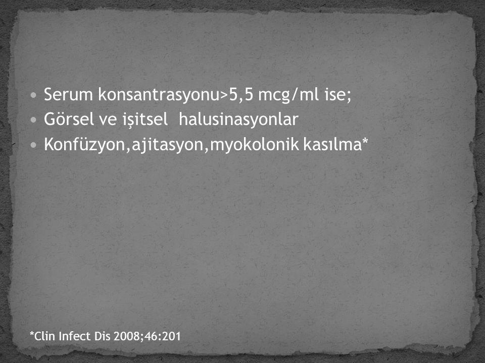Serum konsantrasyonu>5,5 mcg/ml ise; Görsel ve işitsel halusinasyonlar Konfüzyon,ajitasyon,myokolonik kasılma* *Clin Infect Dis 2008;46:201