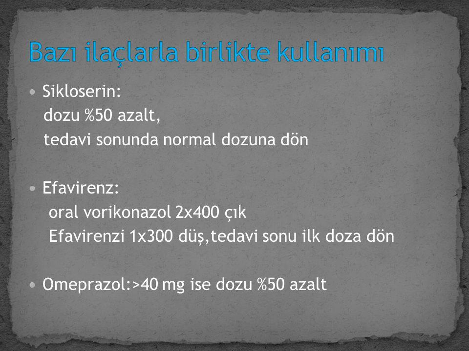 Sikloserin: dozu %50 azalt, tedavi sonunda normal dozuna dön Efavirenz: oral vorikonazol 2x400 çık Efavirenzi 1x300 düş,tedavi sonu ilk doza dön Omepr
