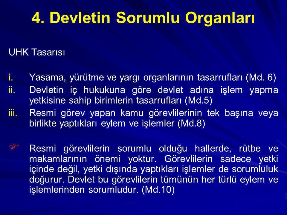 4. Devletin Sorumlu Organları UHK Tasarısı i. i.Yasama, yürütme ve yargı organlarının tasarrufları (Md. 6) ii. ii.Devletin iç hukukuna göre devlet adı