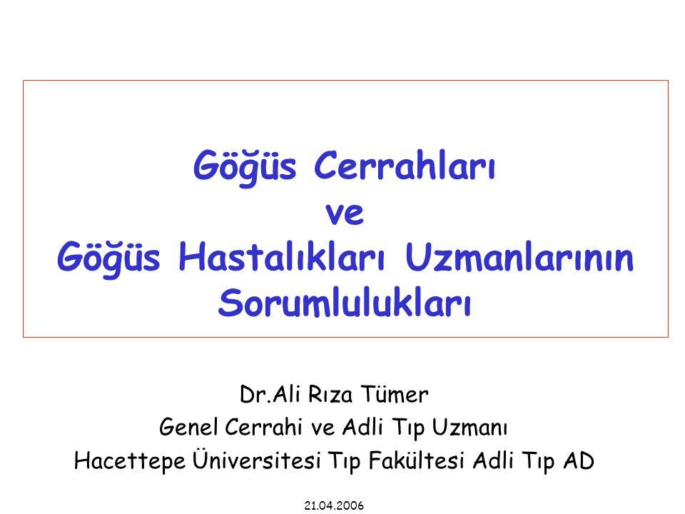 Göğüs Cerrahları ve Göğüs Hastalıkları Uzmanlarının Sorumlulukları Dr.Ali Rıza Tümer Genel Cerrahi ve Adli Tıp Uzmanı Hacettepe Üniversitesi Tıp Fakültesi Adli Tıp AD 21.04.2006