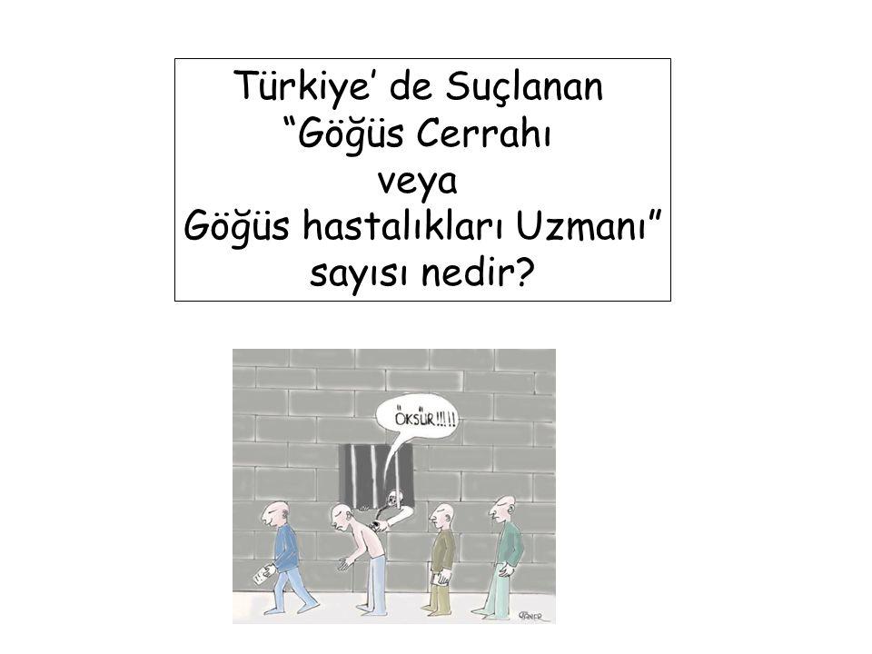 """Türkiye' de Suçlanan """"Göğüs Cerrahı veya Göğüs hastalıkları Uzmanı"""" sayısı nedir?"""