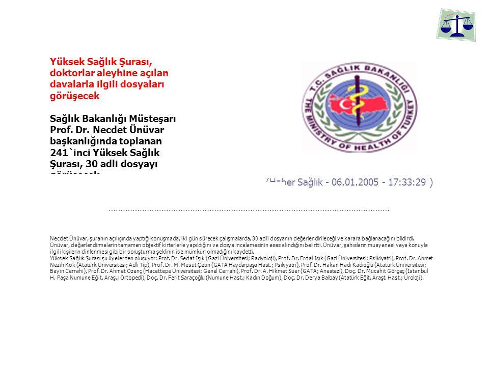 Yüksek Sağlık Şurası, doktorlar aleyhine açılan davalarla ilgili dosyaları görüşecek Sağlık Bakanlığı Müsteşarı Prof.